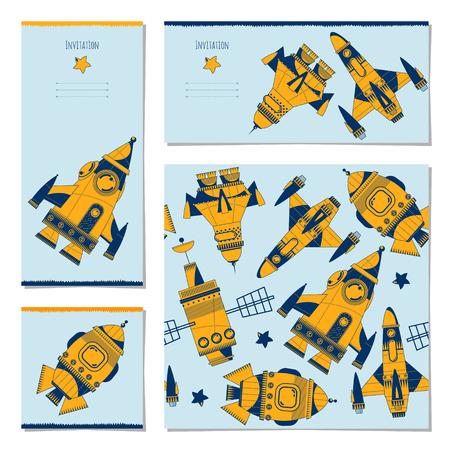 Set di carte universali con razzi di giocattoli spaziali. Compleanno, anniversario, festa per bambini, congratulazioni. Modello. Illustrazione vettoriale Archivio Fotografico - 77169106
