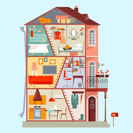 3階建て住宅の断面図。客室の詳細なインテリア デザイン。ベクトル図