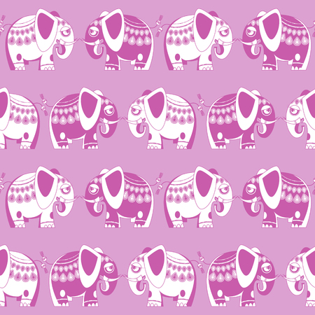 Decorated blue and pink elephants. Seamless background pattern. Pink. Vector illustration.
