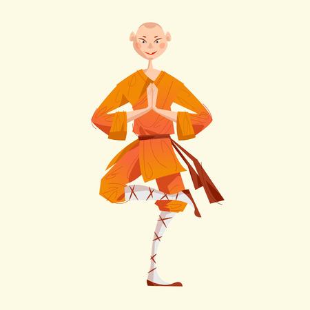 Smiling Shaolin Monk. Kung Fu. Meditating. Vector illustration