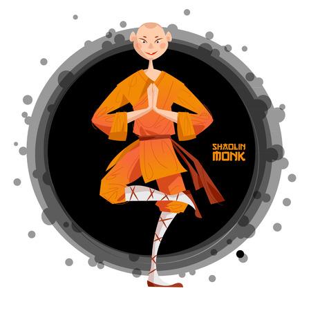 Smiling Shaolin Monk. Kung Fu. Meditating. Vector illustration Stock Vector - 78033741