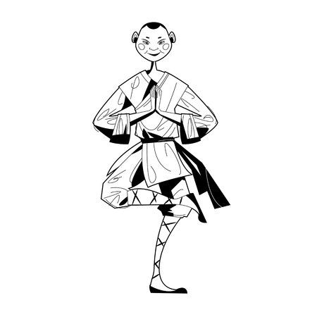 Smiling Shaolin Monk. Black and white. Vector illustration Illustration