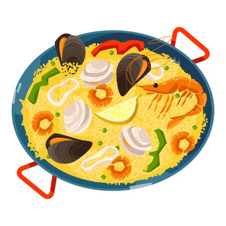 해산물 빠에야. 전통적인 스페인 음식입니다. 벡터 일러스트 레이 션