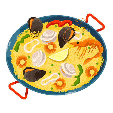Paella with seafood. Traditional spanish food. Vector illustration