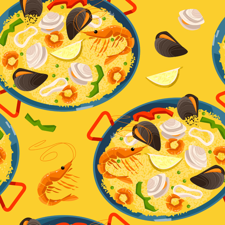 Paella with seafood. Traditional spanish food. Seamless background pattern. Vector illustration