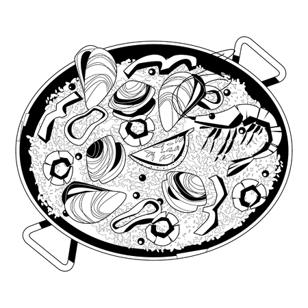 Paella with seafood. Traditional spanish food. Black and white. Vector illustration