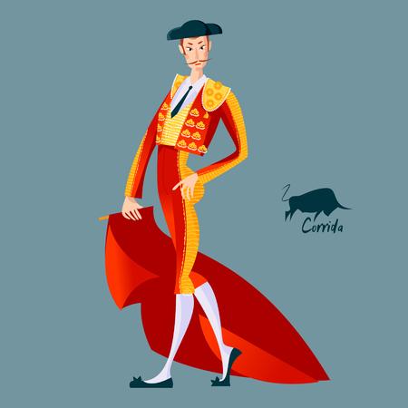Matador with cape. Corrida de toros. Bullfighting. Vector illustration