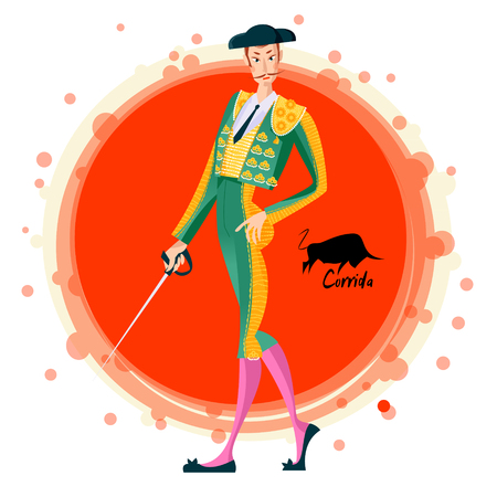Matador with sword. Corrida de toros. Bullfighting. Vector illustration