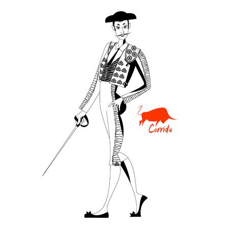 corrida de toros: Matador con espada. Corrida de toros. Toreo. En blanco y negro. Ilustración del vector Vectores