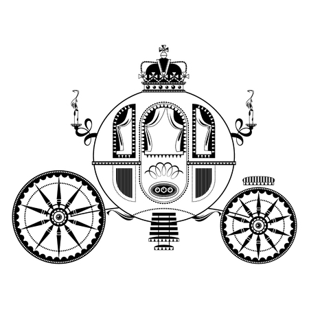 Princess Fantasy Carriage. Black and white. Vector illustration Illustration