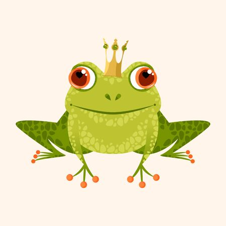 princess frog: Smiling frog in a crown. Vector illustration.