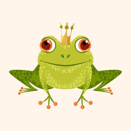 Smiling frog in a crown. Vector illustration.