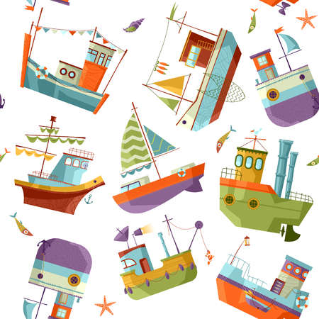 brigantine: Naval collection. Seamless background pattern. Vector illustration. Illustration