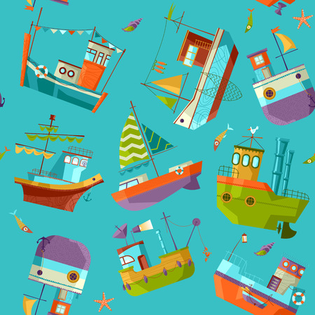 Naval collection. Seamless background pattern. Vector illustration