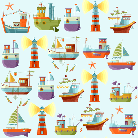 Naval collection. Seamless background pattern. Vector illustration. Ilustracja