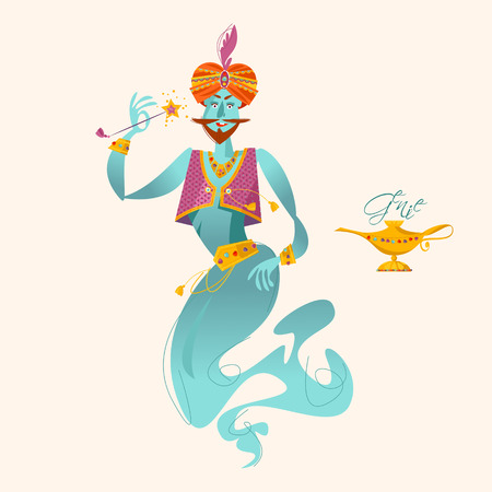 Happy genie with magic wand. Vector illustration