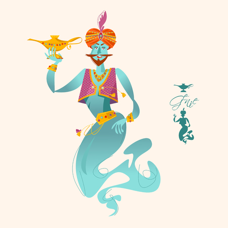 Happy genie with magic lamp. Vector illustration Illustration