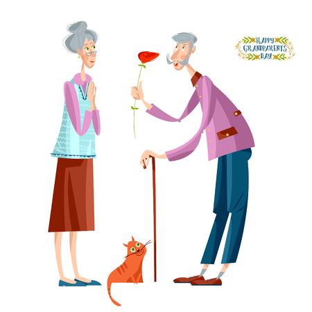 An old man gives a flower to an old woman. Grandparents Day. Vector illustration Illustration