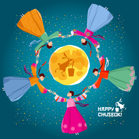 "Greeting card ""Happy Chuseok!"". Korean traditional Mid Autumn Festival. Women in traditional Korean dress go around in circle holding hands. The Ganggangsullae folk dance. Vector illustration"