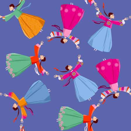 韓国の伝統衣装の女性が手をつないで輪に回る。女性フォーク ダンス。シームレスな背景パターン。ベクトル図  イラスト・ベクター素材
