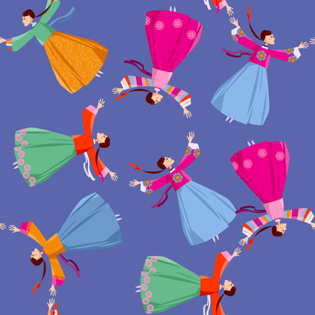 전통적인 한국 의상을 입은 여성들은 손을 잡고 서클을 돌며 이동합니다. 강강술래 민속 춤. 완벽 한 배경 무늬입니다. 벡터 일러스트 레이 션
