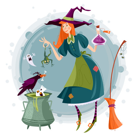 Little witch preparing a magic potion in a cauldron. Happy halloween. Vector illustration