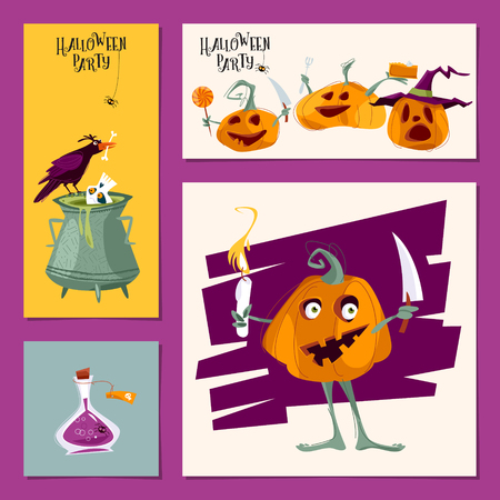 Set of 4 various cards for Halloween party. Template. Vector illustration