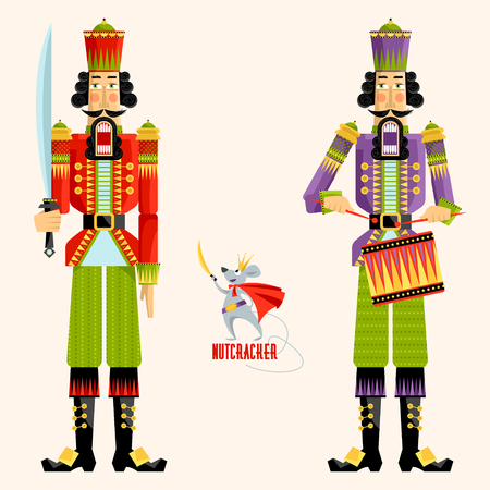 Two ?hristmas Nutcrackers and the mouse king. Vector illustration Illustration