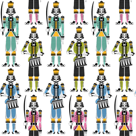 ?hristmas Nutcrackers. Seamless background pattern. Vector illustration.