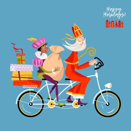 Kerstmis in Holland. Sinterklaas en zijn helper leveren geschenken op een tandemfiets. Vector illustratie.