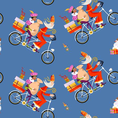 オランダのクリスマス。シンタークラースと彼のヘルパーは、タンデム自転車に贈り物を提供します。ベクトルの図。  イラスト・ベクター素材