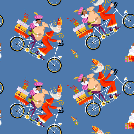 Navidad en Holanda. Sinterklaas y su ayudante reparten regalos en una bicicleta tándem. Ilustración vectorial Foto de archivo - 87123840