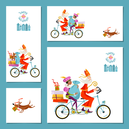 Set of 4 universal cards with Sinterklaas and his helper. Christmas in Holland. Vector illustration.