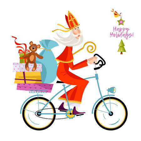 Santa Claus (Sinterklaas) on a bicycle with gifts. Christmas in Holland. Vector illustration.