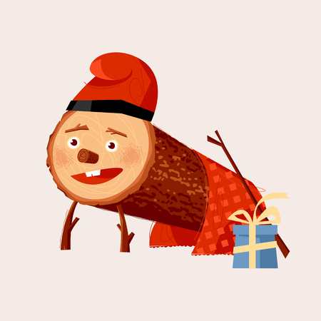 Tio de Nadal (Christmas Log). Christmas tradition in Catalonia and Aragon, Spain. Vector illustration