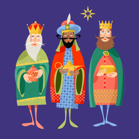 Three biblical Kings: Caspar, Melchior and Balthazar. Three wise men. Vector illustration.