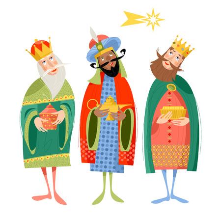 Three biblical Kings: Caspar, Melchior and Balthazar. Three wise men. Vector illustration.
