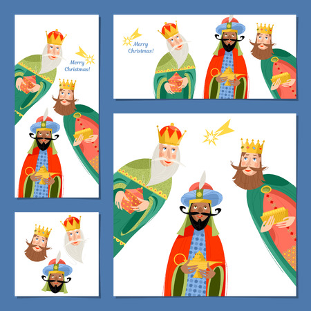 Set of 4 universal Christmas greeting cards with three biblical Kings: Caspar, Melchior and Balthazar.  Three wise men. Template. Vector illustration. Stock Vector - 87625522