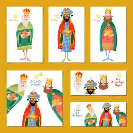 Set van 6 universele kerstkaarten met drie koningen. Feliz dia de reyes! (Happy Three Kings Day!). Sjabloon. Vector illustratie.