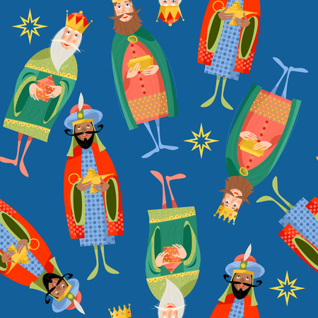 Three biblical Kings: Caspar, Melchior and Balthazar. Three wise men. Seamless background pattern. Vector illustration.