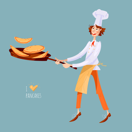 Junior chef. Boy tosses pancakes in large frying pan. Happy Pancake Day! Vector illustration