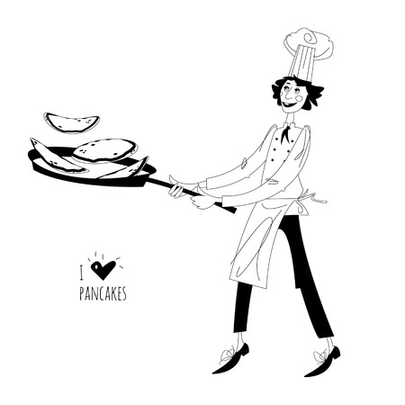 fasching: Junior chef. Boy  tosses pancakes in large frying pan. Happy Pancake Day! Black and white. Vector illustration Illustration