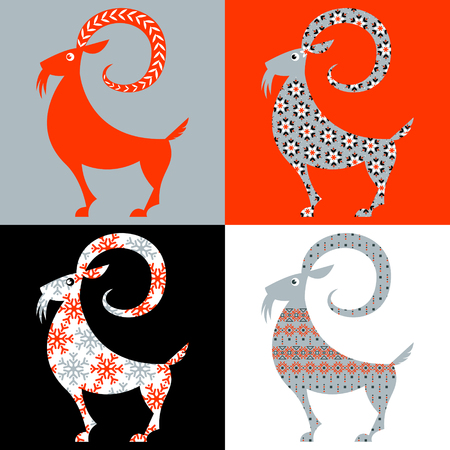 Scandinavian traditional Christmas decoration: Set of 4 Yule Goats  with different patterns. Julbock. Vector illustration Illustration