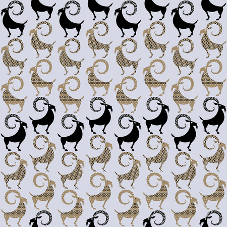 Scandinavian traditional Christmas decoration. Yule Goats with different patterns. Seamless background pattern. Vector illustration Illustration