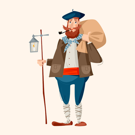 Spanish (Basque) Christmas Tradition. Olentzero. A man with a large bag with Christmas gifts for children. Vector illustration