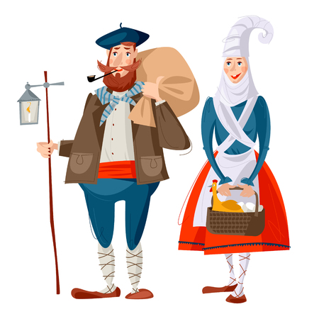 Spanish (Basque) Christmas Tradition. Olentzero and Mari Domingi. Traditional Christmas characters in Basque country and Navarre. Vector illustration Illustration