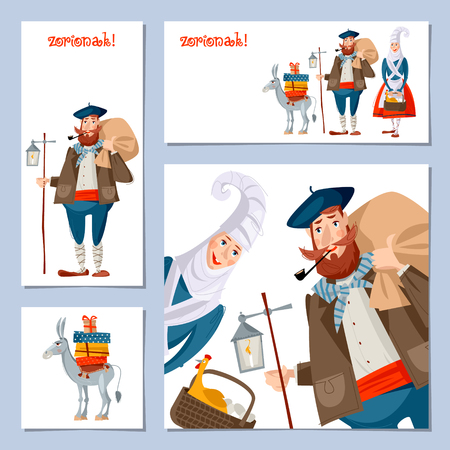 Spanish (Basque) Christmas Tradition. Set of 4 Christmas greeting cards with Olentzero, Mari Domingi and a little donkey loaded with gifts. Vector illustration 일러스트