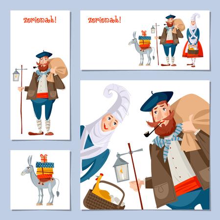 Tradición navideña española (vasca). Conjunto de 4 tarjetas de felicitación de Navidad con Olentzero, Mari Domingi y un pequeño burro cargado de regalos. Ilustración vectorial