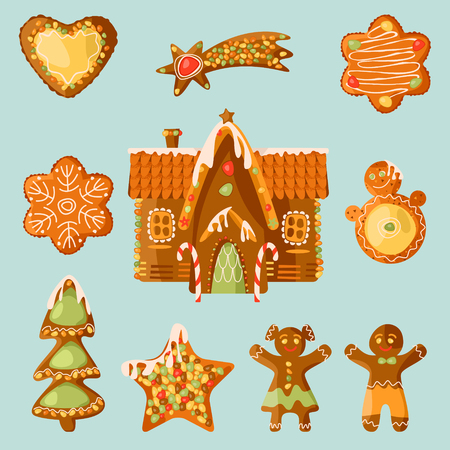 Gingerbread house and 9 festive Gingerbread Cookies. Christmas tradition. Vector illustration Ilustracja