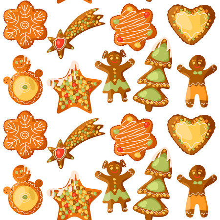 Festive Gingerbread Cookies. Christmas tradition. Seamless background pattern. Vector illustration Illustration